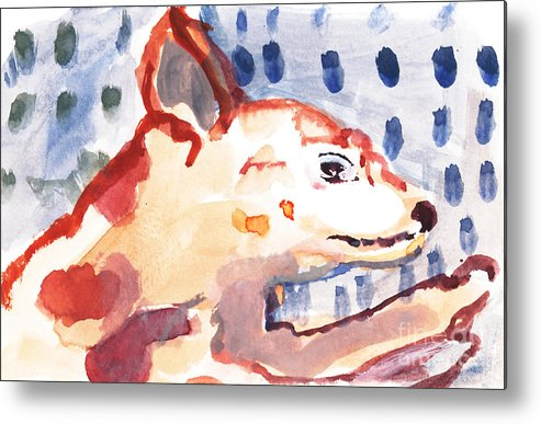 Dog Metal Print featuring the painting Bow-wow In The Rain by Vannucci Fine Art