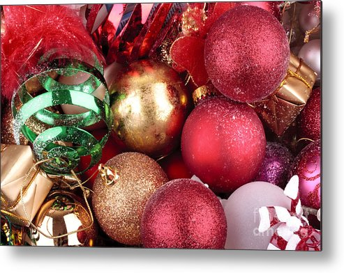 Background Metal Print featuring the photograph Box Of Christmas Decorations by Simon Bratt Photography LRPS