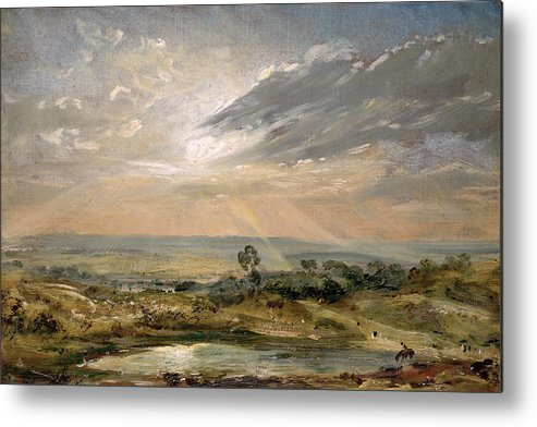 Sky; Landscape; Sunrise; Sunset; Dramatic; Romantic; Romanticism Metal Print featuring the painting Branch Hill Pond Hampstead by John Constable