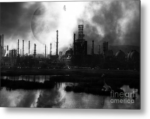 Brave New World Metal Print featuring the photograph Brave New World - Version 2 - Black And White - 7d10358 by Wingsdomain Art and Photography