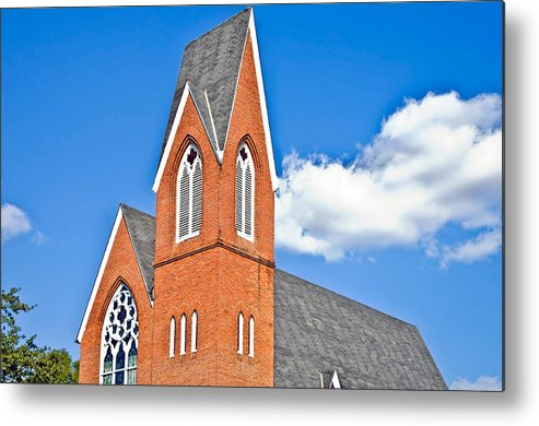 Steeple; Brick; Church; Building; Tall; Peak; Red; Blue; Sky; Colorful; Colourful; Clouds; Religion; Design; Architecture; Details; Elements; Roof; Bell; Tower; Place; Worship; Windows; America; American; Americana; Architecture; Belfry; Bell; Blue; Building; Chapel; Christian; Christianity; Historic; Historical; History; Holy; Landmark; Picturesque; Place; Religion; Room; Sacred; Sanctuary; Scenic; Space; Spiritual; Steeple; Structure; Tower Metal Print featuring the photograph Brick Steeple by Susan Leggett
