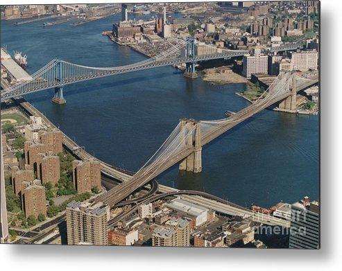 Manhattan Bridge Brooklyn Bridge New York City Sky Line Metal Print featuring the photograph Bridges Of New York City by John Ryan
