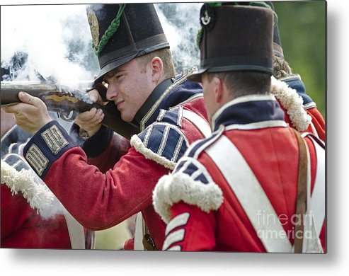 War Of 1812 Metal Print featuring the photograph British Soldier Shooting by JT Lewis