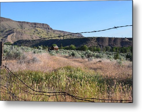 Fence Metal Print featuring the photograph Broken Home And Fence by Linda Larson