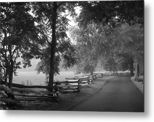 Cades Cover Metal Print featuring the photograph Cades Cove Tennessee In Black And White by Kathy Clark