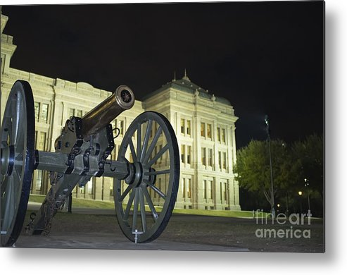 Cannon Metal Print featuring the photograph Cannon In Front Of The Texas State Capitol In Austin by Andre Babiak