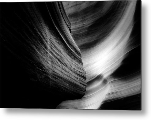 Southwest Metal Print featuring the photograph Canyon Curves In Black And White by Christine Till