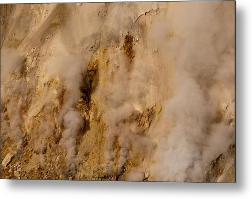 Canyon Metal Print featuring the photograph Canyon Steam Vents In Yellowstone National Park by Bruce Gourley