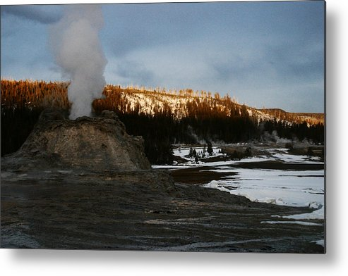 Geysers Metal Print featuring the photograph Castle Geyser Yellowstone National Park by Benjamin Dahl