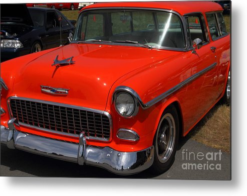 Transportation Metal Print featuring the photograph Chevrolet Bel-air Stationwagon . Orange . 7d15268 by Wingsdomain Art and Photography