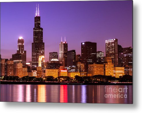 America Metal Print Featuring The Photograph Chicago Skyline At Night High Resolution Image By Paul Velgos