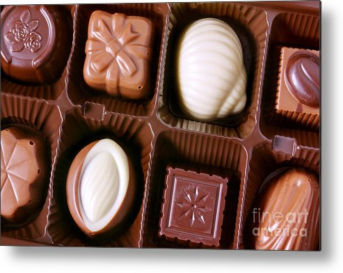 Assorted Metal Print featuring the photograph Chocolates Closeup by Carlos Caetano