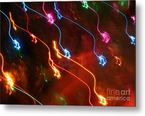 Abstract Metal Print featuring the photograph Christmas Light Abstract by Susan Stevenson