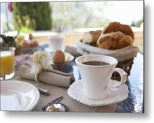Horizontal Metal Print featuring the photograph Close Up Of Coffee At Breakfast Table by Easy Production