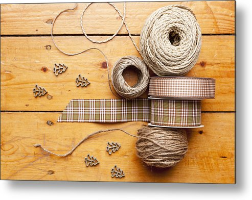 Horizontal Metal Print featuring the photograph Close Up Of Ribbon, String And Shapes by Nils Hendrik Mueller