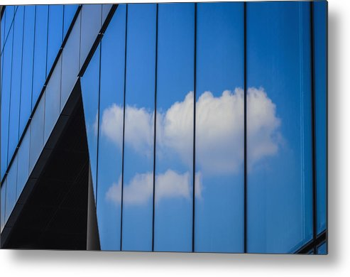 Horizontal Metal Print featuring the photograph Clouds Reflected In A Glass Facade by Ingo Jezierski