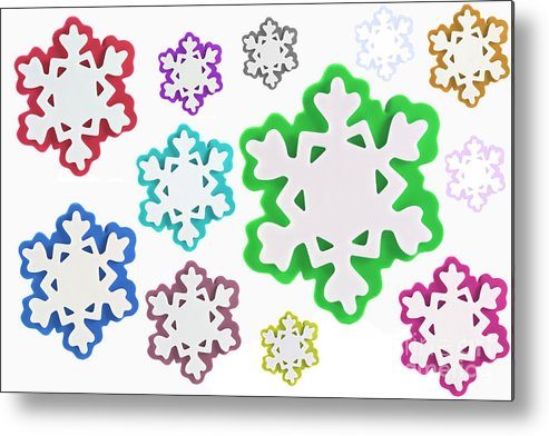 Background Metal Print featuring the photograph Coloured Snowflakes Isolated by Simon Bratt Photography LRPS