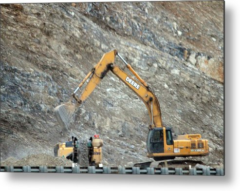 Construction Metal Print featuring the photograph Cutting The Mountain by Magda Levin-Gutierrez