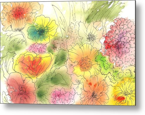 Watercolor Metal Print featuring the painting Dancing Flowers by Christine Crawford