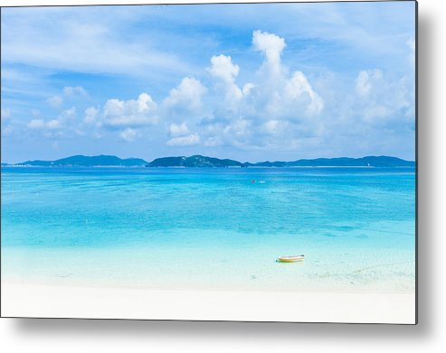 Horizontal Metal Print featuring the photograph Deserted Tropical Beach And Islands On Horizon by Ippei Naoi