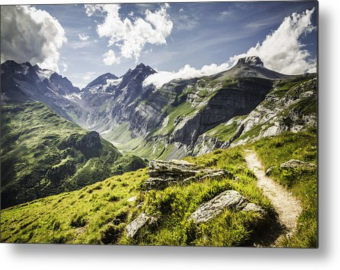 Horizontal Metal Print featuring the photograph Dirt Path On Grassy Rural Hillside by Manuel Sulzer