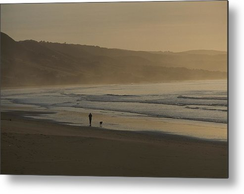 Australia Metal Print featuring the photograph Distant View Of A Person And Dog by Sam Abell