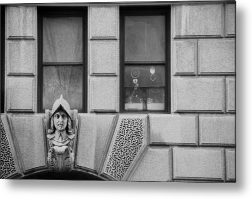 Black And White Metal Print featuring the photograph Dos Windows In Black And White by Rob Hans