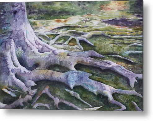 Tree Roots Metal Print featuring the painting Dunbar Cave Roots by Patsy Sharpe