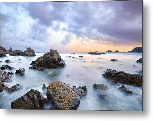 Horizontal Metal Print featuring the photograph Dusk At Oze Rocky Shore by Tommy Tsutsui