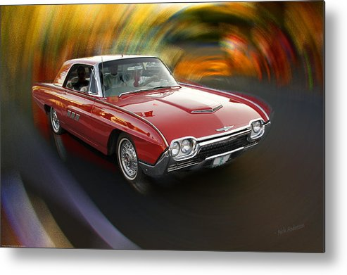 Special Effect Metal Print featuring the photograph Early 60s Red Thunderbird by Mick Anderson