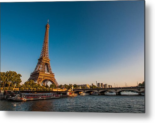 Horizontal Metal Print featuring the photograph Eiffel Tower And Bridge by (C) Thanachai Wachiraworakam