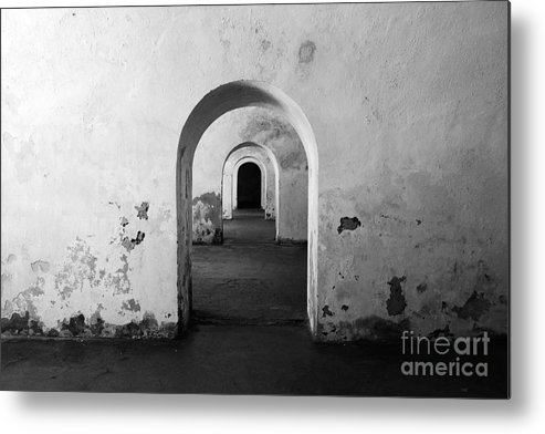 Travelpixpro Puerto Rico Metal Print featuring the photograph El Morro Fort Barracks Arched Doorways San Juan Puerto Rico Prints Black And White by Shawn O'Brien
