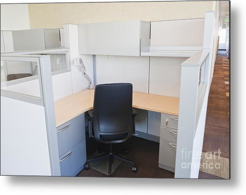 Architecture Metal Print featuring the photograph Empty Office Cubicle by Jetta Productions, Inc