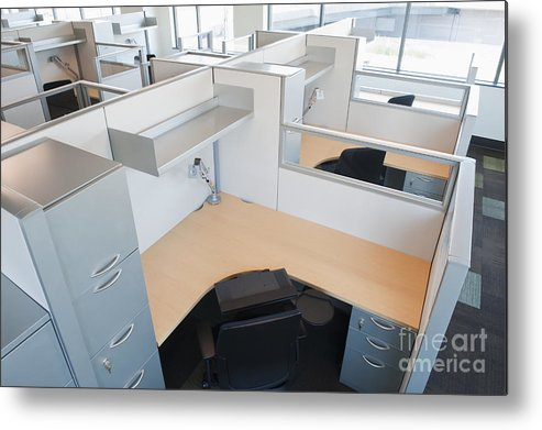 Architecture Metal Print featuring the photograph Empty Office Cubicles by Jetta Productions, Inc