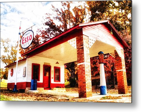 Esso Metal Print featuring the painting Esso Filling Station by Lynne Jenkins
