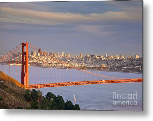 Golden Metal Print featuring the photograph Evening Over San Francisco by Brian Jannsen