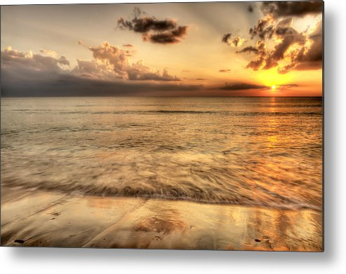Seascape Metal Print featuring the photograph Evening Rays by Gouzel -