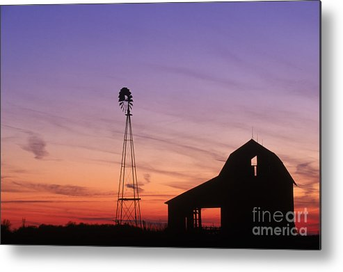 Farm Metal Print featuring the photograph Farm At Sunset by David Davis and Photo Researchers