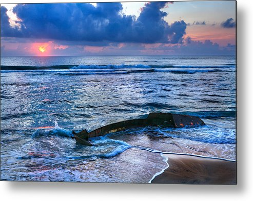 Outer Banks Metal Print featuring the photograph Final Sunrise - Beached Boat On The Outer Banks by Dan Carmichael