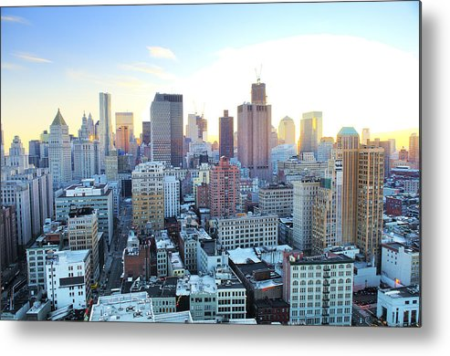 Horizontal Metal Print featuring the photograph Financial District by Tony Shi Photography