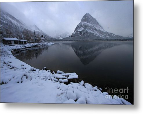 Grinnell Point Metal Print featuring the photograph First Snow At Grinnell by Adam Jewell