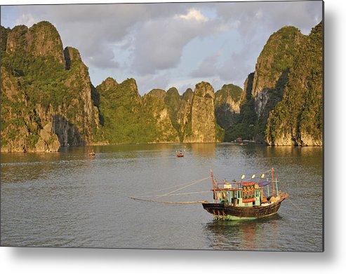 Horizontal Metal Print featuring the photograph Fishing Boats At Sunset, Halong Bay by Sami Sarkis
