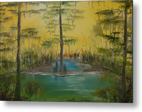 Swamp Metal Print featuring the painting Florida Swamp by Katheryn Napier
