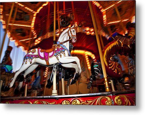 Carousel Metal Print featuring the photograph Flying Pony by Kelley King