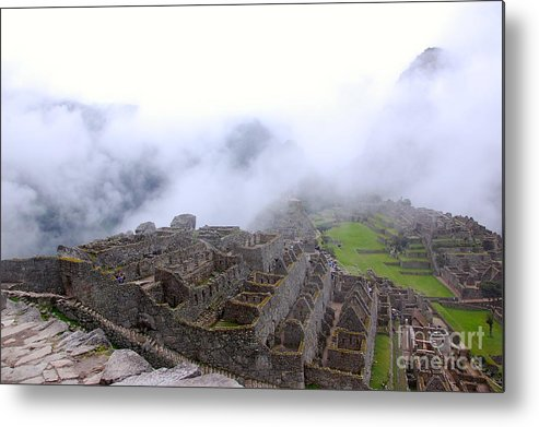 Fog Metal Print featuring the photograph Fog Rolling Into Machu Picchu by David Barnett