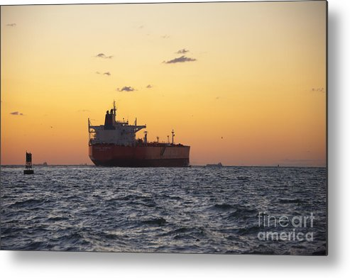 Sunset Metal Print featuring the photograph Freight Tanker At Sea - Sunset In Port Aransas by Andre Babiak