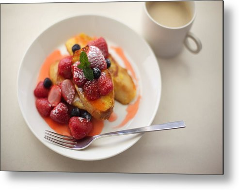 Horizontal Metal Print featuring the photograph French Toast And Strawberries Source by Cocoaloco