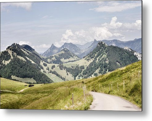 Horizontal Metal Print featuring the photograph Fribourg Alps by Photo by Dave Carr