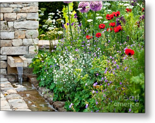 Garden Metal Print featuring the photograph Garden Flowers With Stream by Simon Bratt Photography LRPS