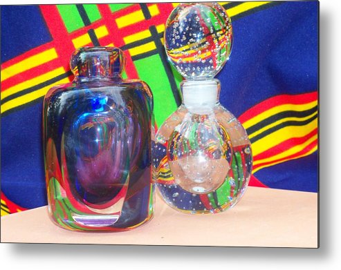 Glass Metal Print featuring the photograph Glass Light And Color Series 4 by B L Hickman